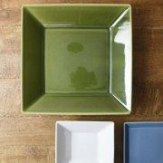 織部釉薬のグリーンがきれいな角皿