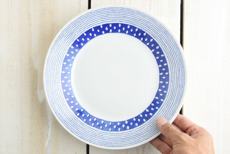 ブルーパターン 24cm少し大きめカレー皿(パスタ皿) サザナミ やまに